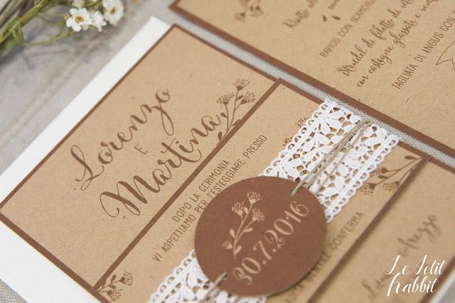 Partecipazioni Matrimonio Stile Rustico : Wedding suite lace rustico chic le petit rabbit