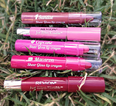 face of australia, revlon, kissable balm stain, lip crayon, sheer gloss crayon, macaron, cupcake, sundae, adore, honey, review, comparison, swatches