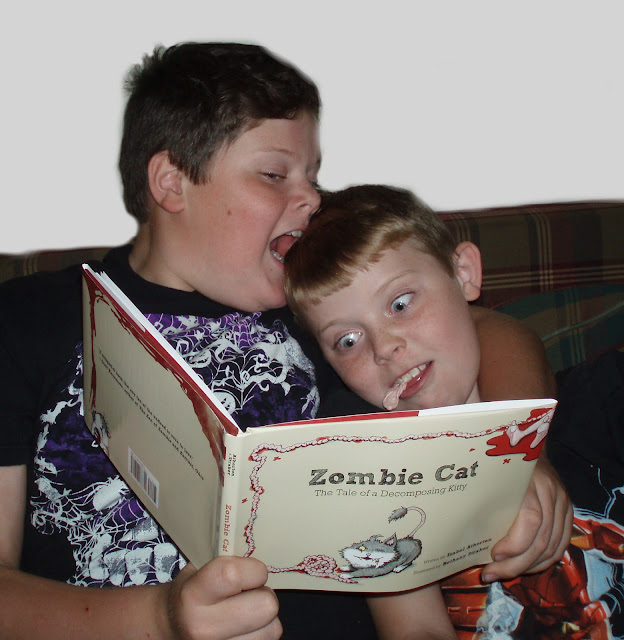 Comic Book Boys Reading Zombie Cat