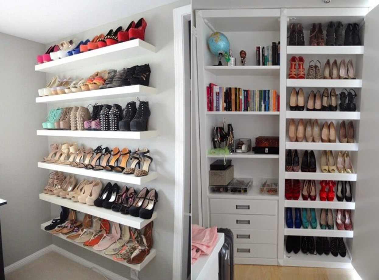Clothes rack with shoe shelf