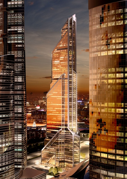 Rendering of Mercury City Tower at sunset between the other two Moscow's skyscrapers