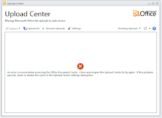 Upload Center error screenshot