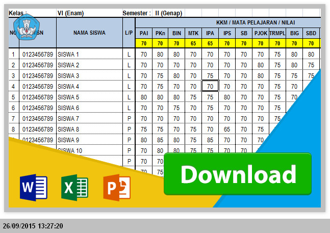 Caran Mengisi dan Menilai Raport Siswa SD KTSP 2006 Menggunakan Excel