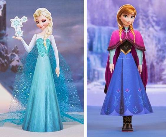PAPERMAU: Frozen - Elsa And Anna Paper Dolls - by Disney Family