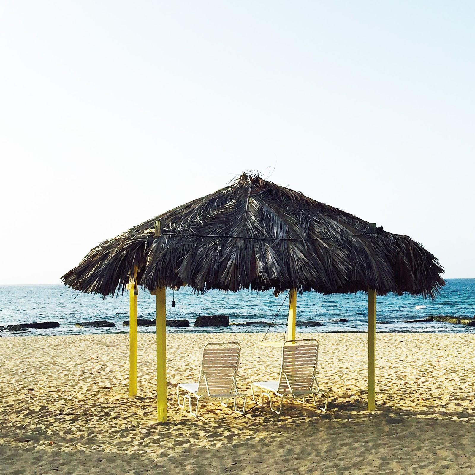 tiki hut on beach