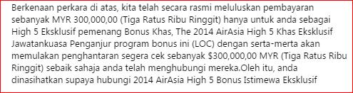 Penipuan Program Loteri AirAsia RM300,000.00