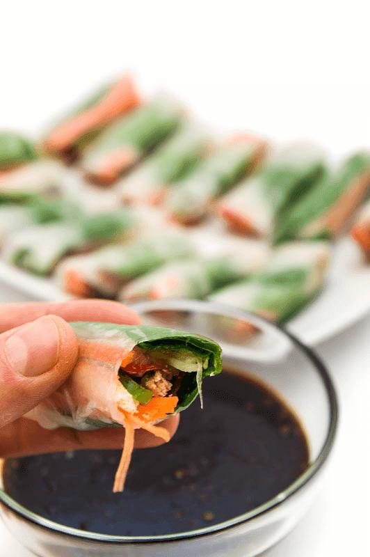 Vegan spring rolls one bite close up
