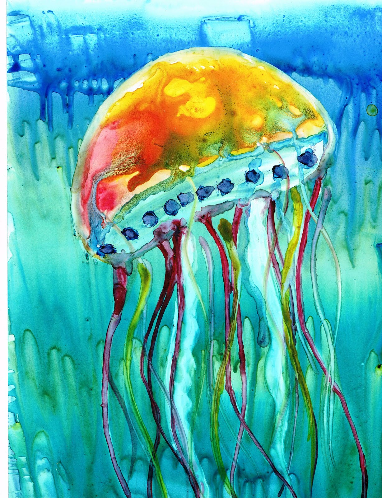 The gallery for jellyfish tattoo watercolor for Jelly fish painting