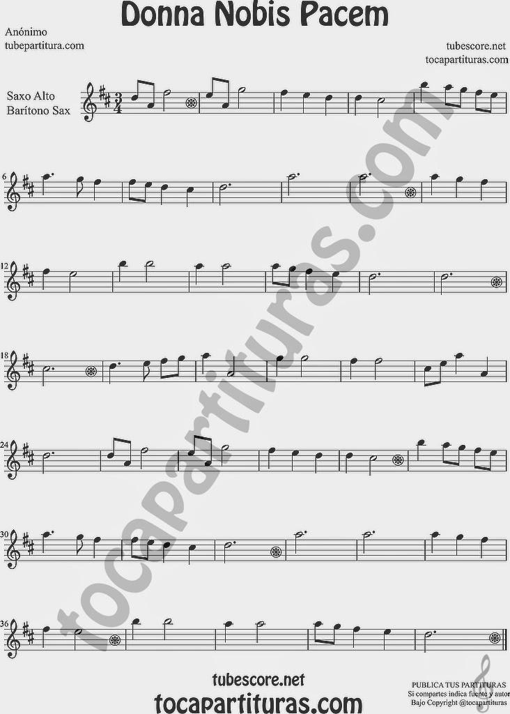 Donna Nobis Pacem  Partitura de Saxofón Alto y Sax Barítono Sheet Music for Alto and Baritone Saxophone Music Scores