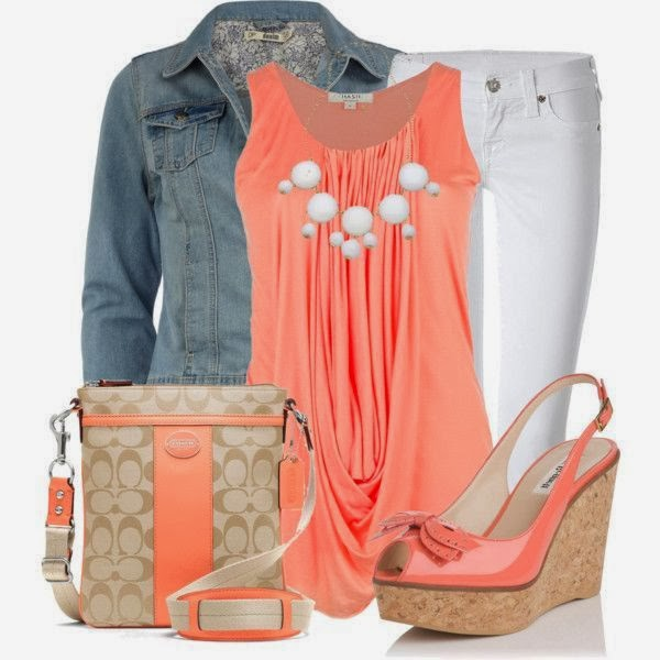 Pink/Orange Outfit White Jeans and Denim Jacket,Suitable Long Bag and Wedge