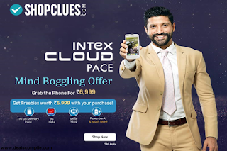 Intex Cloud Pace (Inclusive of Freebies worth Rs 6999/- ) at Shopclues for Rs.6999