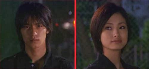 Misaki and Nakahara gaze at each other.