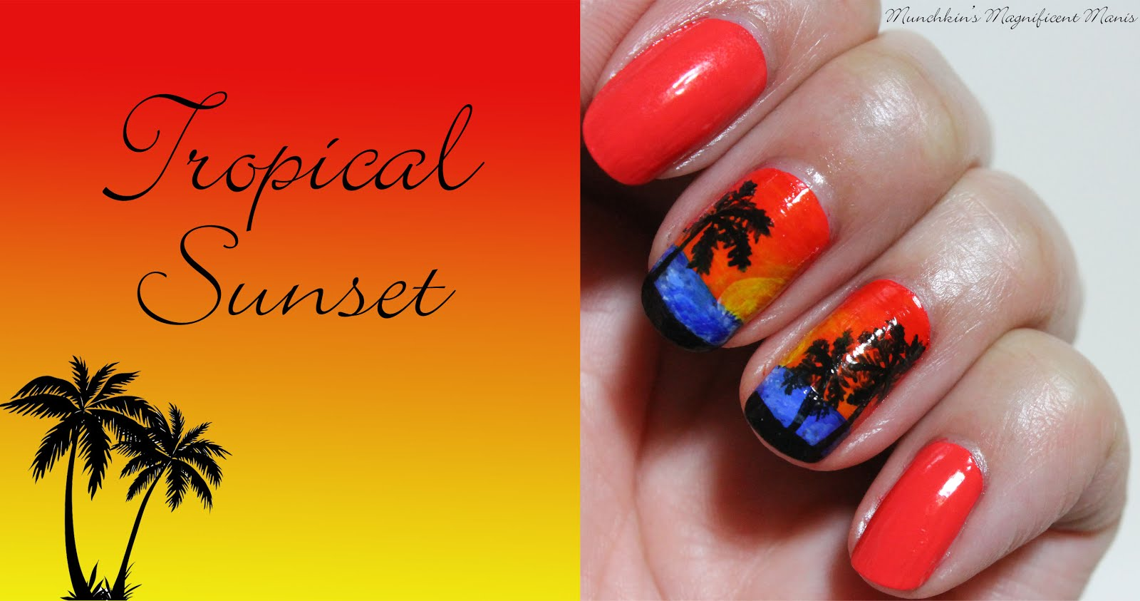 Munchkins Magnificent Manis Tropical Sunset Tropical Nail Design