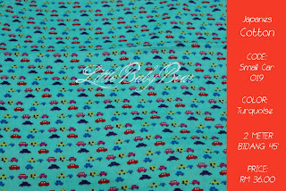 Pure Japanese Cotton - Design Small Car - Colour Turquoise + Rainbow ...