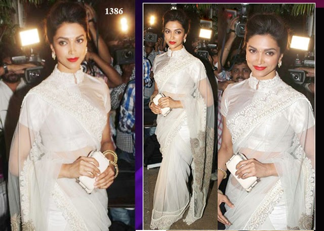 1386 - Deepika Padukone in White Net Saree at Sanjay Leela Bhansali Birthday Bash
