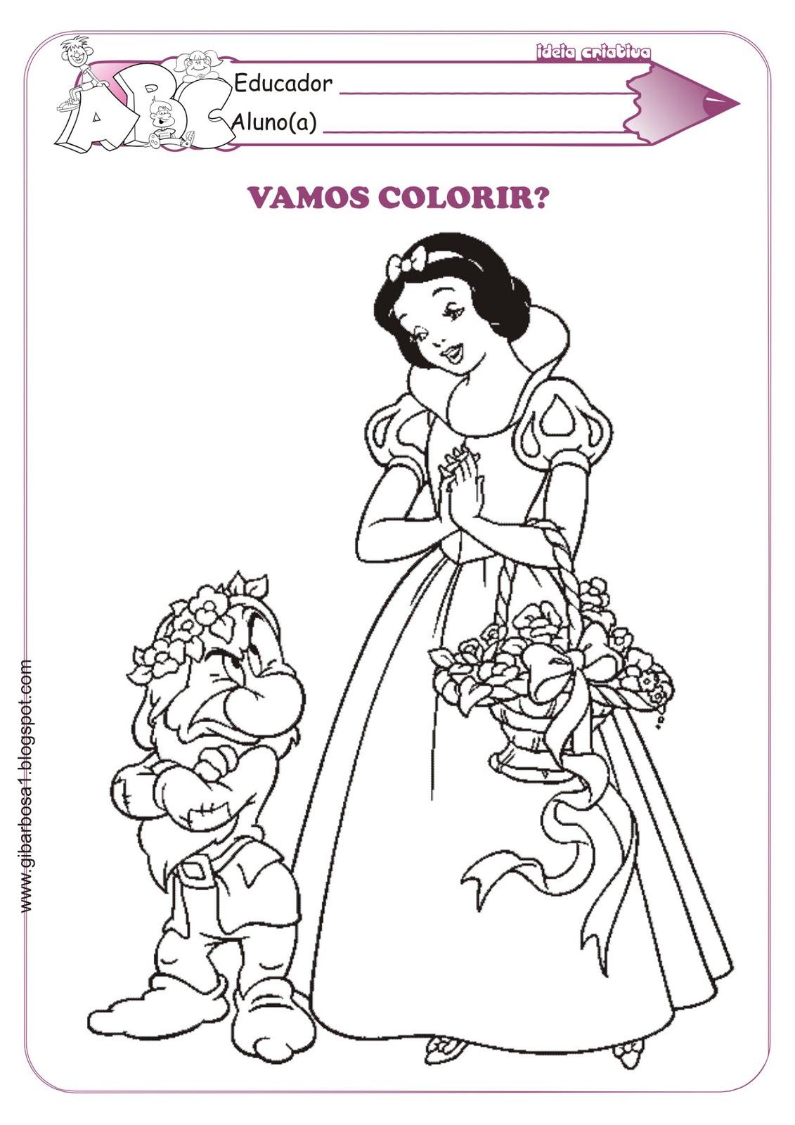 Desenho da Branca de Neve para Colorir Príncipe Dunga Zangado
