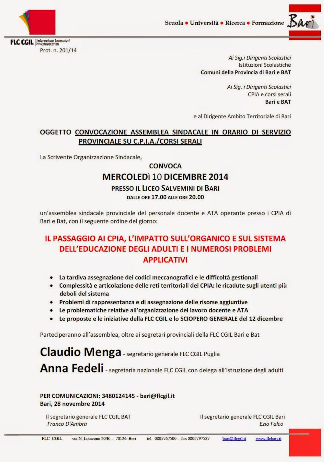 CPIA e serali: assemblea il 10 dicembre con A. Fedeli