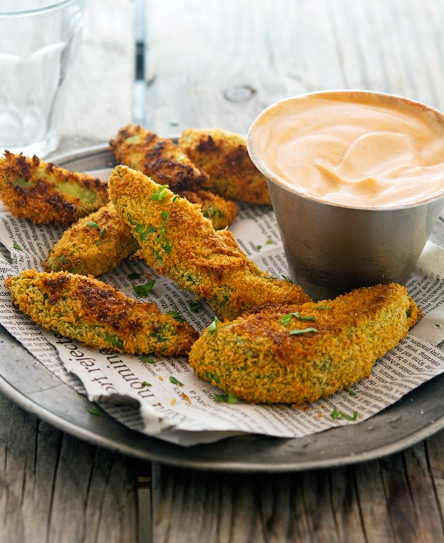 Coconut Crusted Baked Avocado Fries with Sriracha Mayo