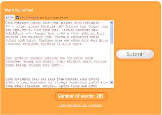 Mengecek Jumlah Kata Pada Artikel secara Online menggunakan www.wordcounttool.com