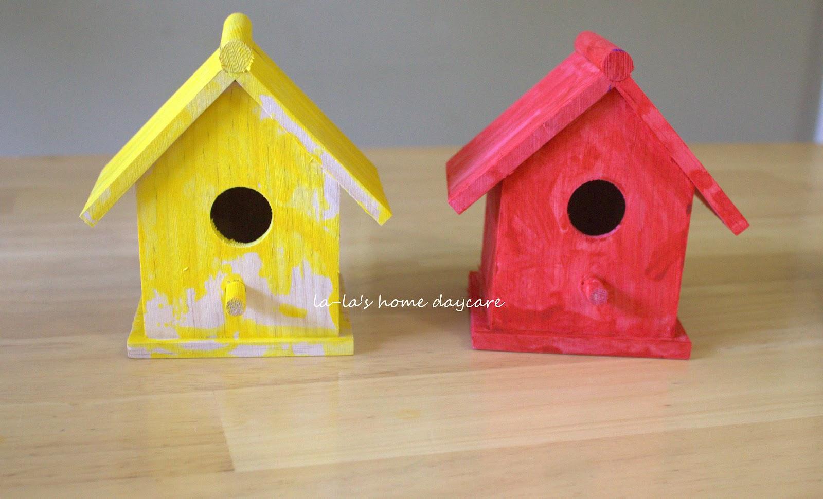La la 39 s home daycare painted bird houses bird unit - Bird house painting ideas ...