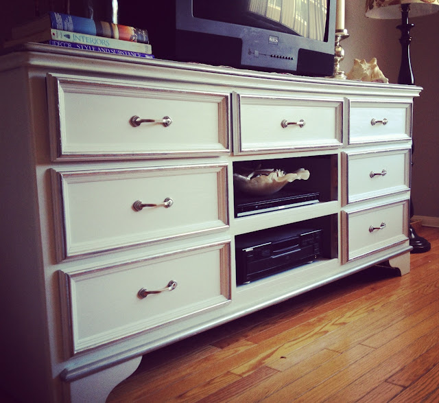 white and silver tv entertainment console dresser diy
