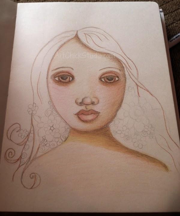 Flower Girl Art Journal Page