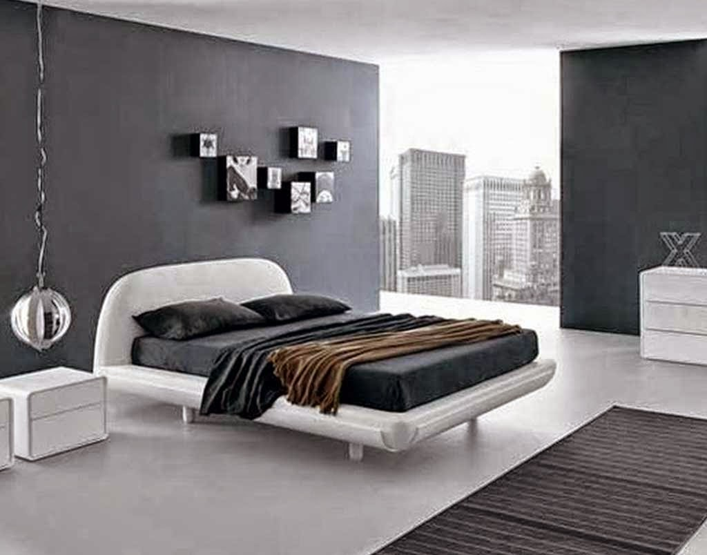 minimalist bedroom design concept in black