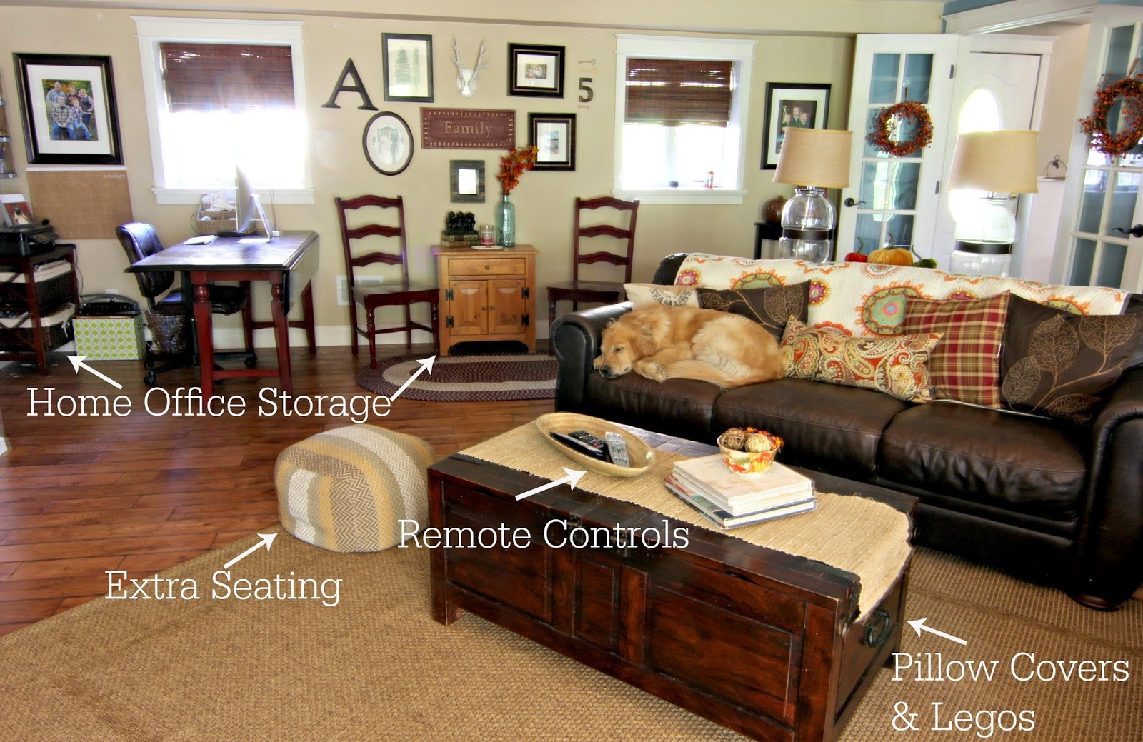 Family Room storage solutions with coffee table trunk-www.goldenboysandme.com