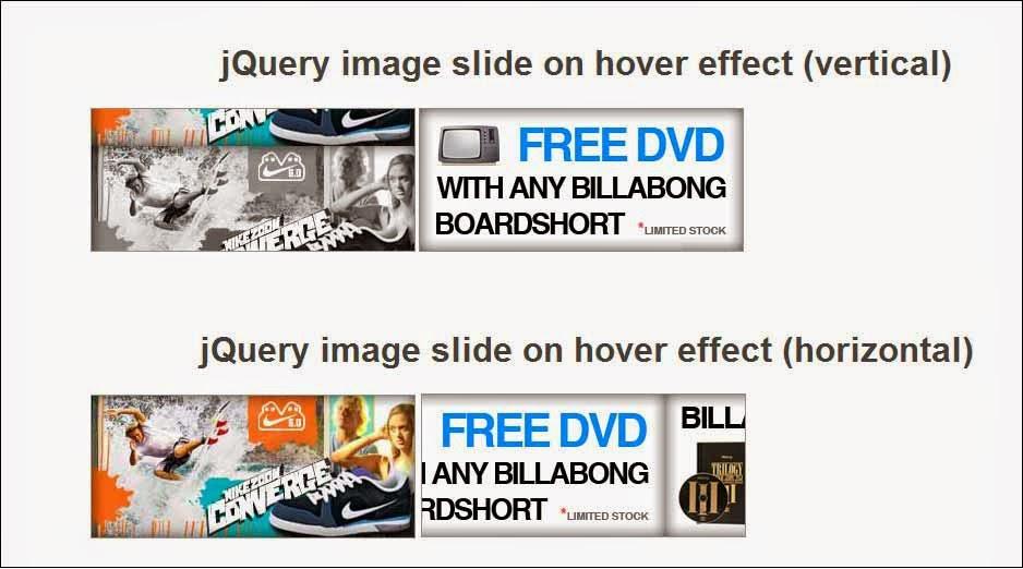 jQuery image slide on hover effect