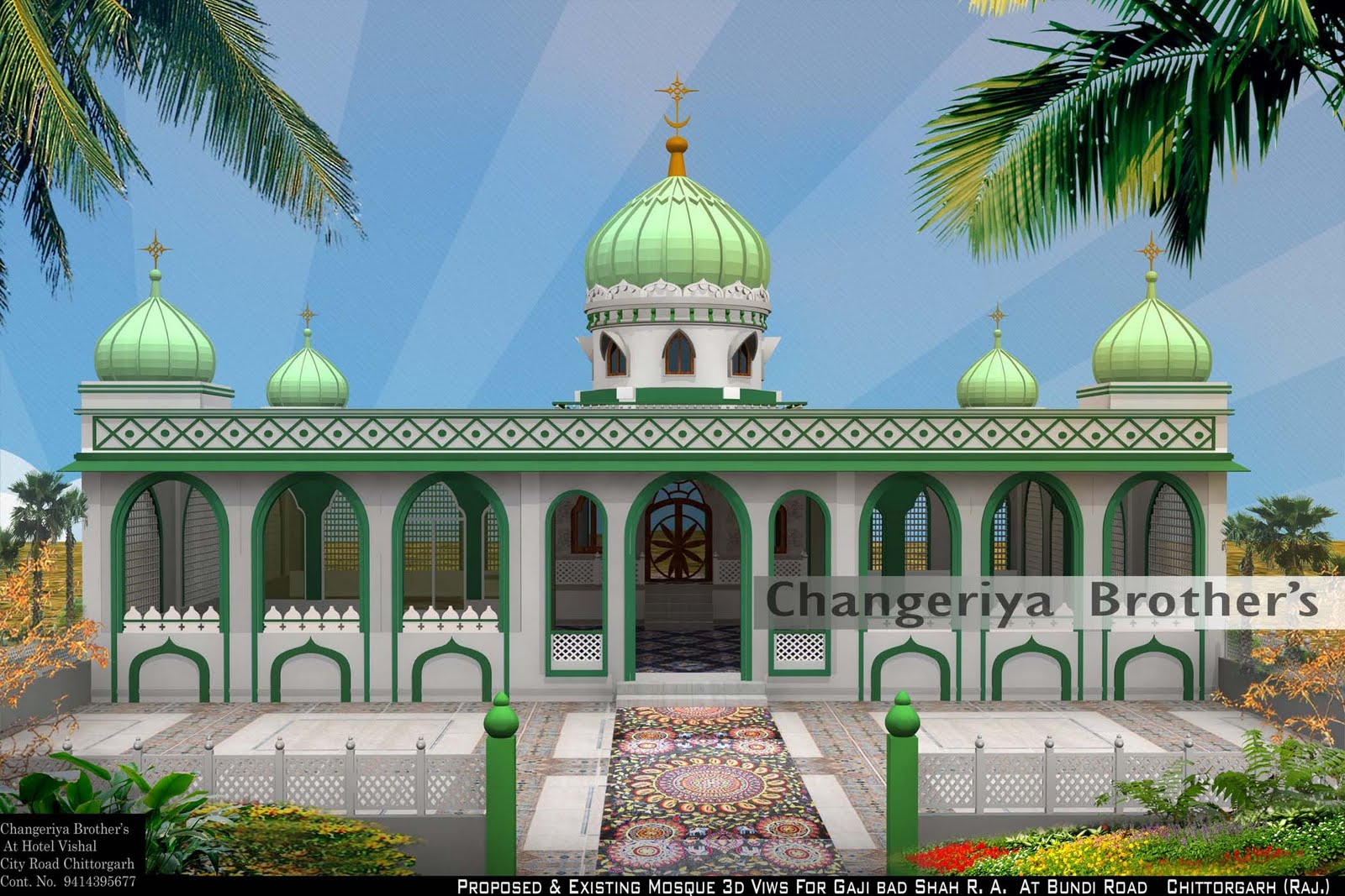 Mosque 3d modling project for gaji bad shah r a for Mosque exterior design