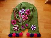 yeşil atkı,şapka,eldiven