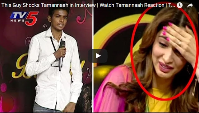 This Guy Shocks Tamannaah in Interview Watch Tamannaah Reaction