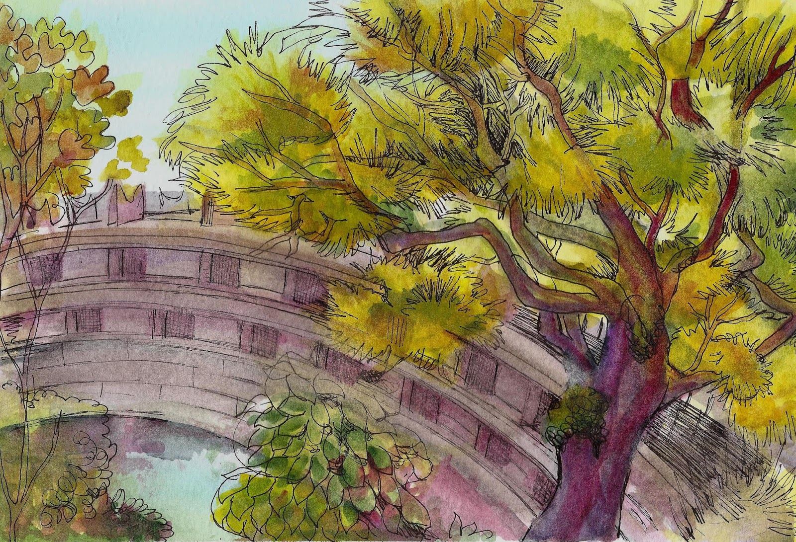 Beautiful Japanese Garden Bridge Drawing On Decorating Ideas