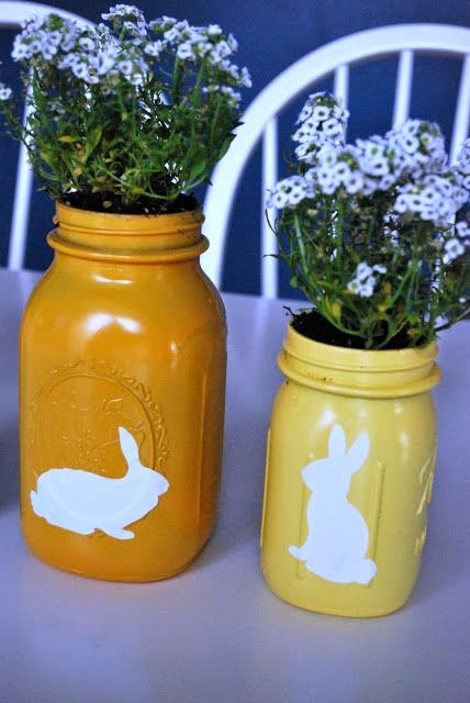 bunny spray painted mason jars from just another day in paradise. Black Bedroom Furniture Sets. Home Design Ideas