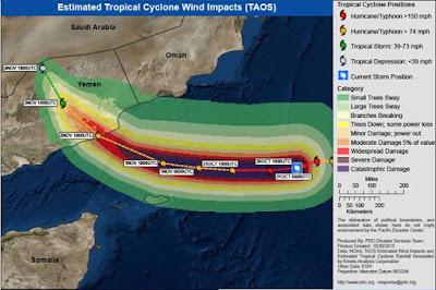 Badai Tropis Chapala Akan Memasuki Wilayah Yaman Oman dan Perbatasan Saudi Arabia