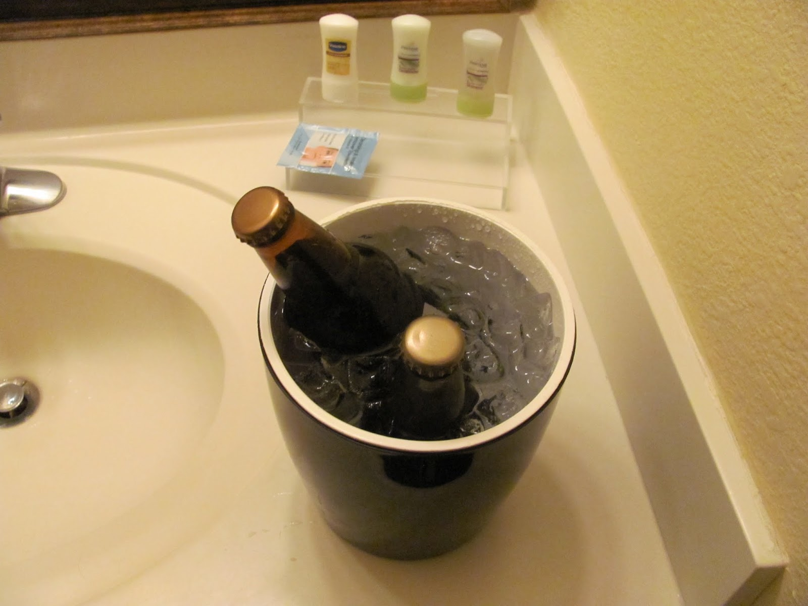 Two homebrews chill in an ice bucket at a hotel in Albuquerque, New Mexico