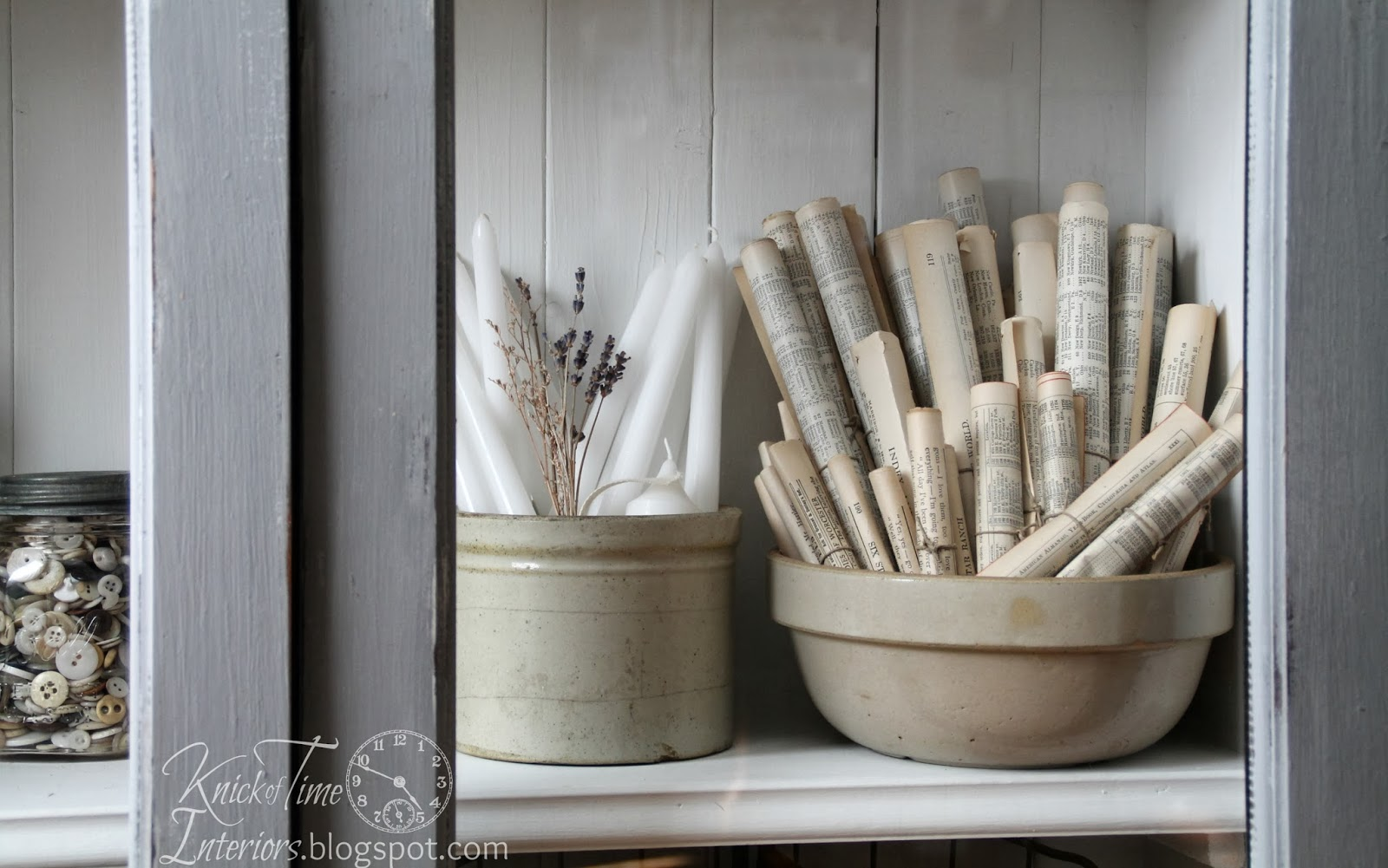Antique Buttons inside a DIY Cabinet via Knick of Time