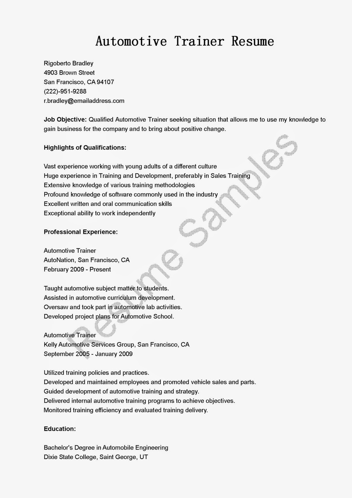 athletic - Pilates Instructor Resume