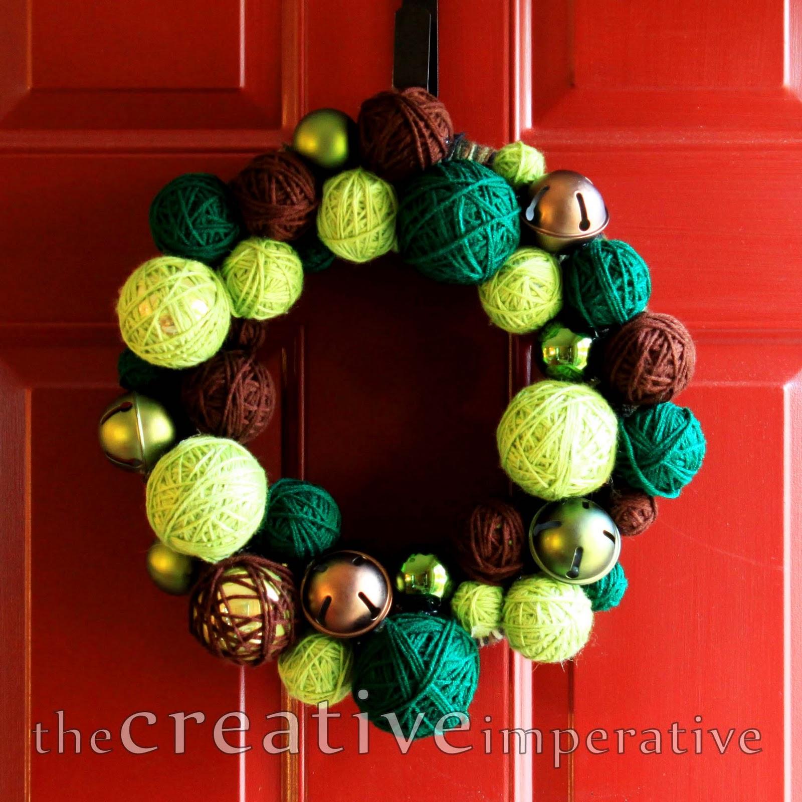 Jingle bell ornaments - Yarn Wrapped Ornament Jingle Bell Wreath