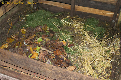 This is my compost pile behind my chicken coops. We layer it with chicken droppings, leaves, grass clippings, kitchen scraps and straw from nest boxes.