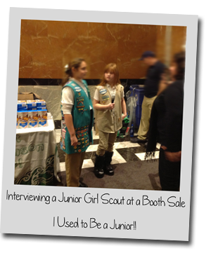 GSNC Girl Scout Cadette Abby A. Tells Us About Her as a Reporter - Picture of Abby Interviewing a Fellow Girl Scout