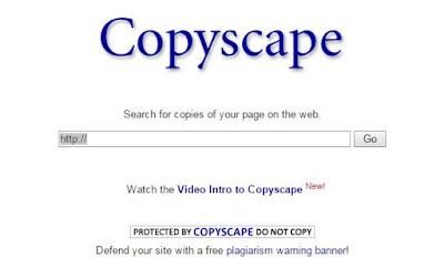 copyscape sebagai sarana untuk mengecek apakah ada yang menjiplak tulisan kamu