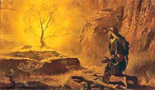 Une histoire abrégée de l`Ancien Testament – (avec images et cartes géographiques) Moise-buisson+ardent2