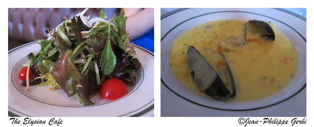 Image of Green salad and mussels chowder at Elysian Cafe in Hoboken, NJ New Jersey
