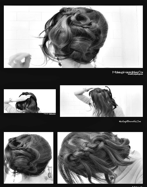 PicMonkey+Collage2234 How To KNOTTED WATERFALL BRAID WITH CURLS  | Cute Hair Tutorial Video