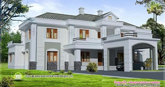 Luxury colonial style home design with court yard home for Colonial style house plans kerala