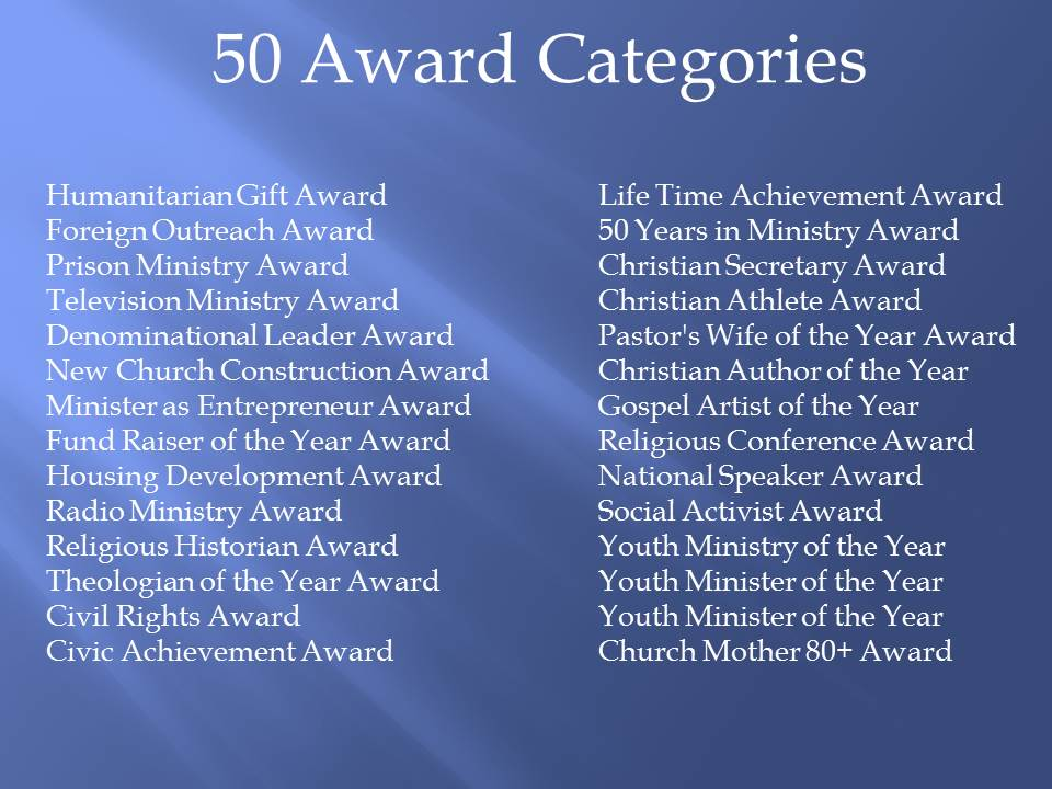 50 Award Categories