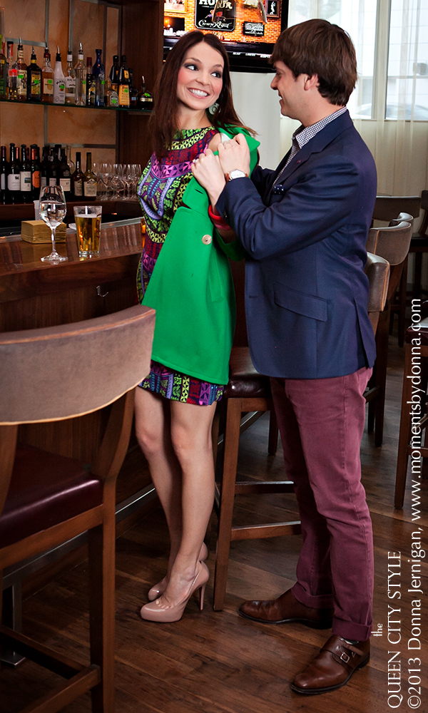 BLT Steak Ritz-Carlton Charlotte NC, Mara Hoffman Cut Out Dress from Sloan, Banana Republic Green Coat, Christian Louboutin Nude pumps, Bakelite bracelets from summerbird, Abbeydale jacket, Abbeydale shirt, Brooklyn Watches, Brunello Cucinelli red jeans, Loake 1880 Shoes, Tibi windowpane skirt and blouse from Sloan Boutique, Michael Kors pumps, Green Market Girl Cuff, Moments by Donna, the Queen City Style, Landon Cassill
