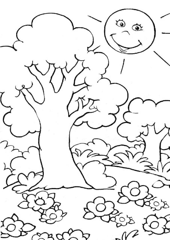 dibujo de un arbol para colorear