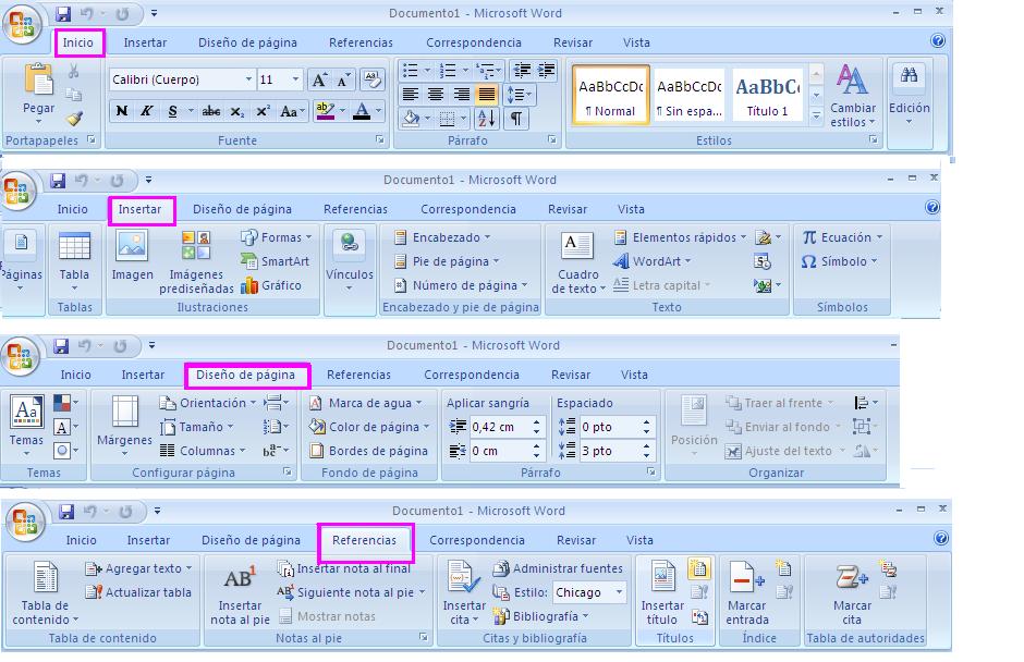 funciones de las barras de word: